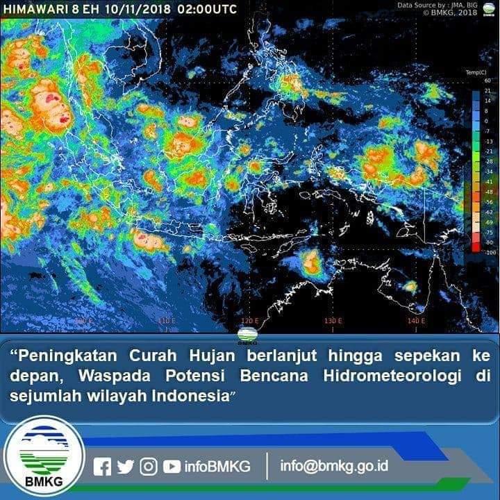 BMKG : Peningkatan Curah Hujan Berlanjut Hingga Sepekan Ke